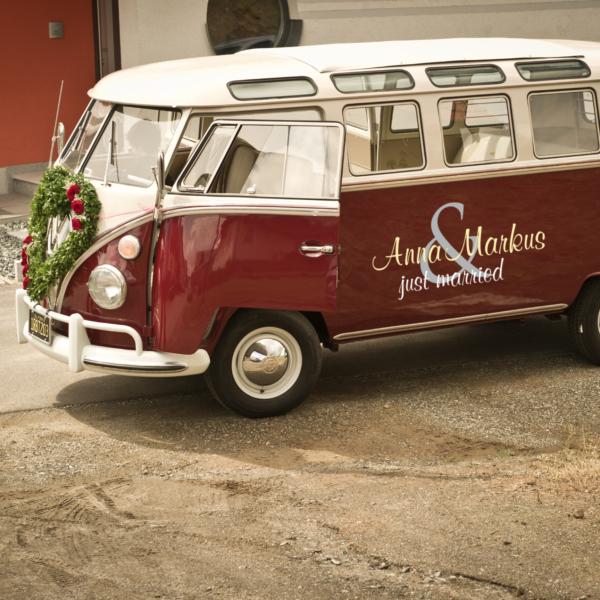 Hochzeitsauto Aufkleber just married