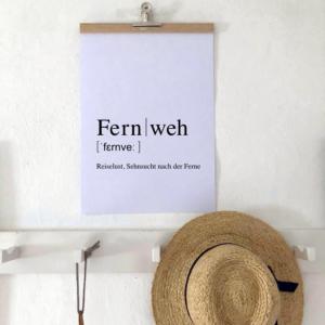 Fernweh poster mit Dudendefinition