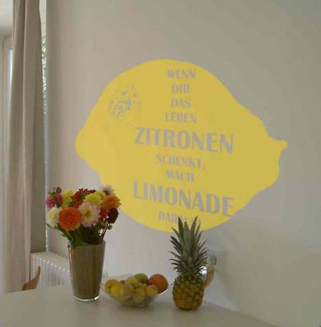 wandtattoo wenn dir das leben zitronen schenkt mach limonade daraus silbensalon. Black Bedroom Furniture Sets. Home Design Ideas