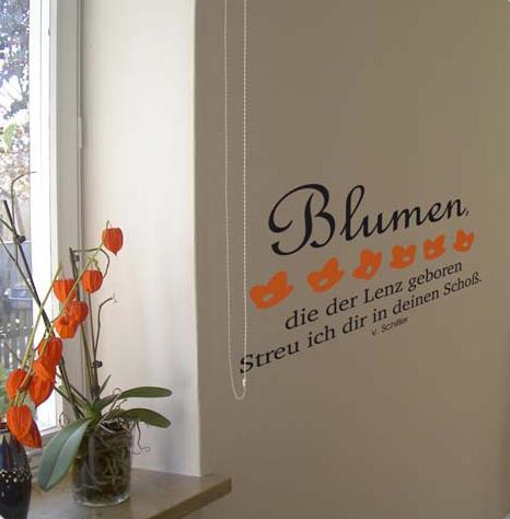 wandtattoo mit Blumentext